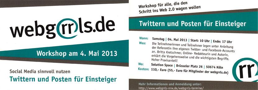 Webgrrls Workshop, Twittern und Posten für Einsteiger
